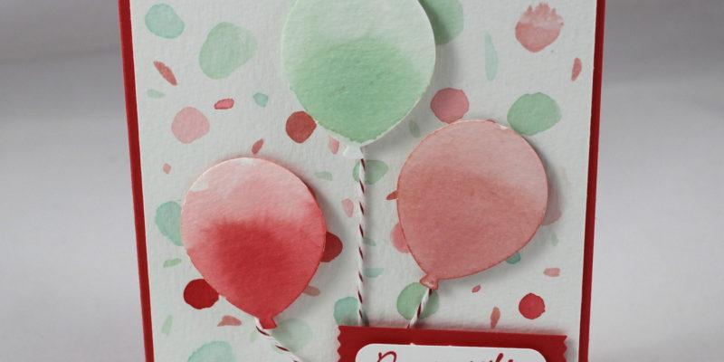Carte ballons et confettis