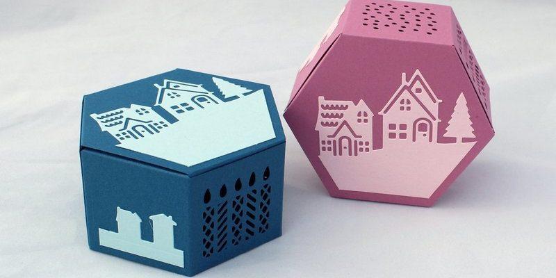 Photo des boites hexagonales de noël