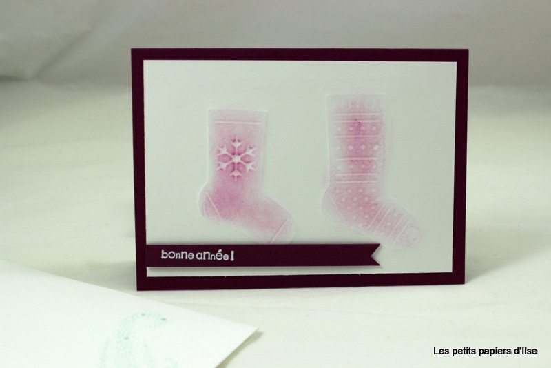 Photo de la carte de voeux impression au poinçon chaussette