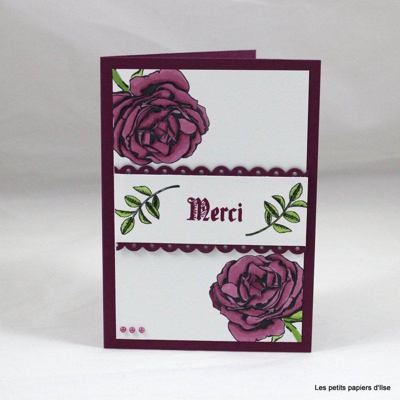 Photo de la carte merci roses aux blends