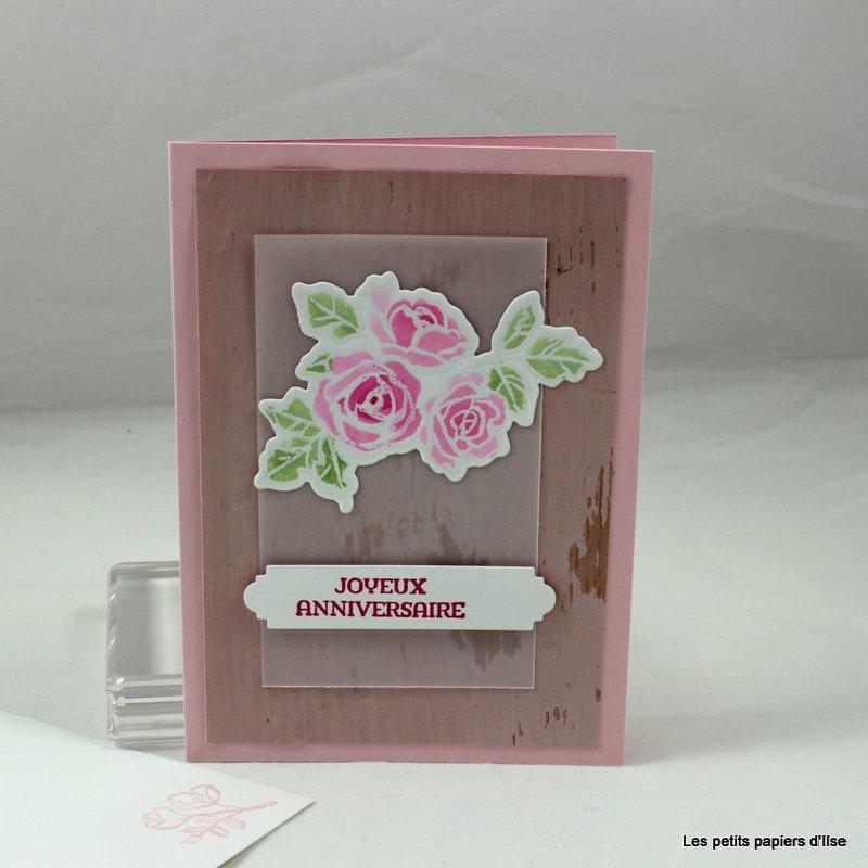 Photo de la carte d'anniversaire bois rose