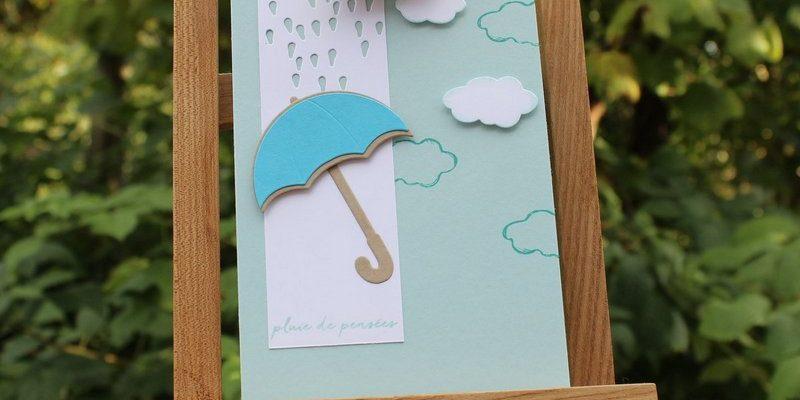 Photo de la carte nuages et parapluie joli