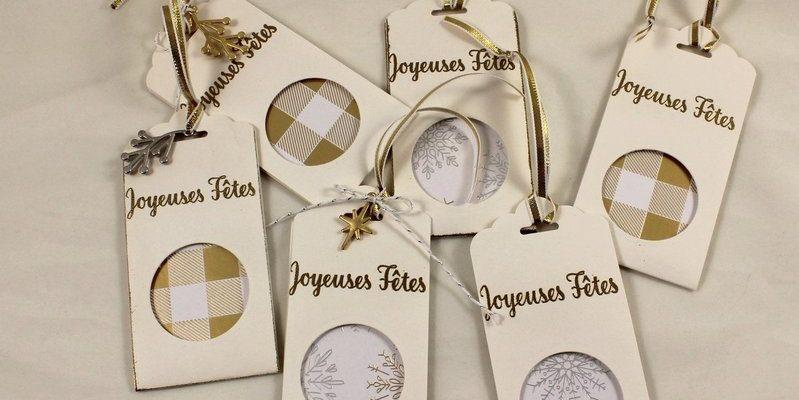 Photo des étiquettes cadeaux joyeuses fêtes