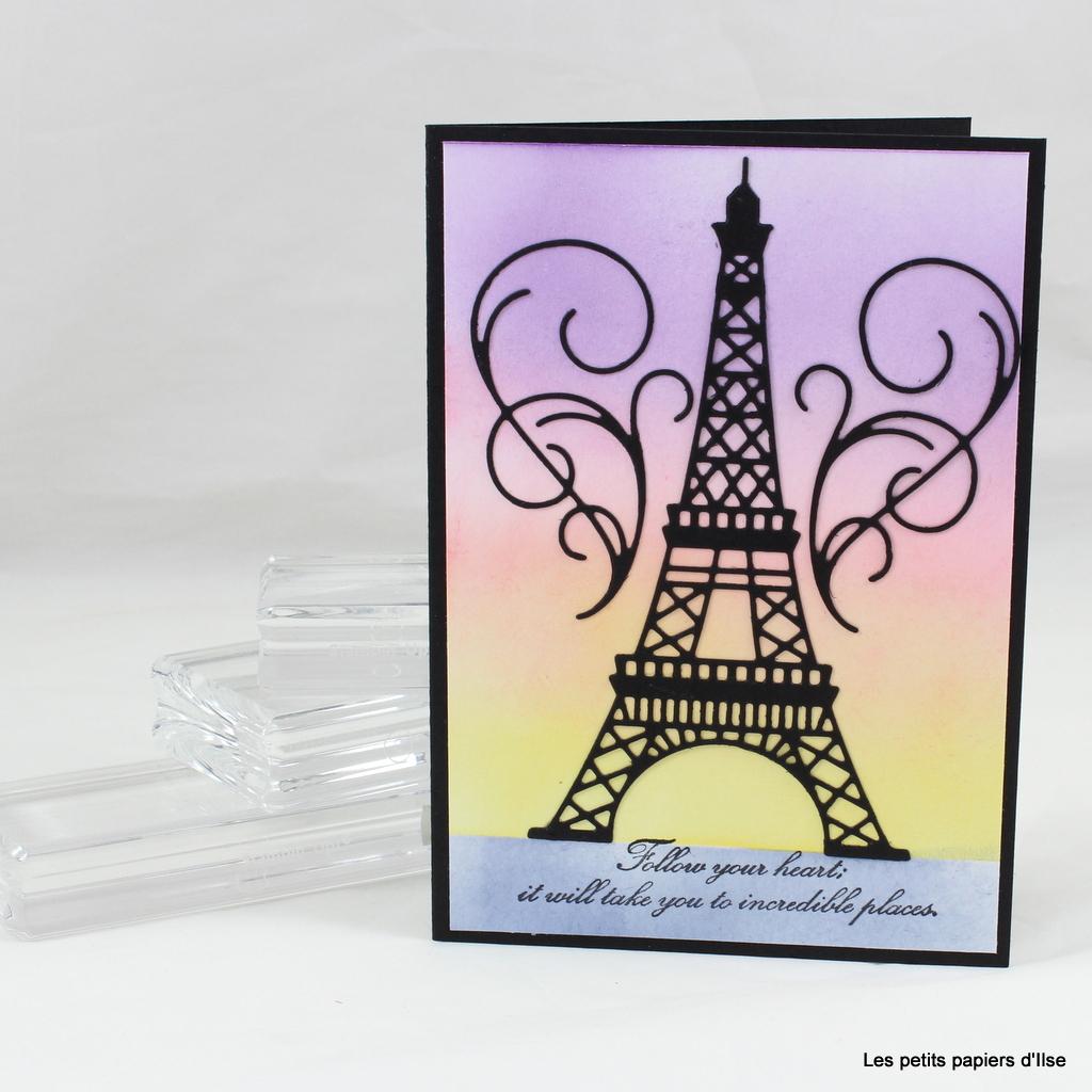 Photo de la carte coucher de soleil sur la tour Eiffel