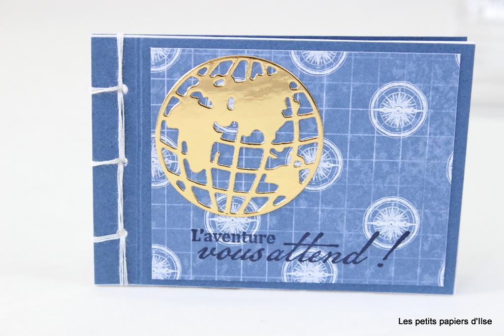 Détail du mini carnet maison Tour du globe