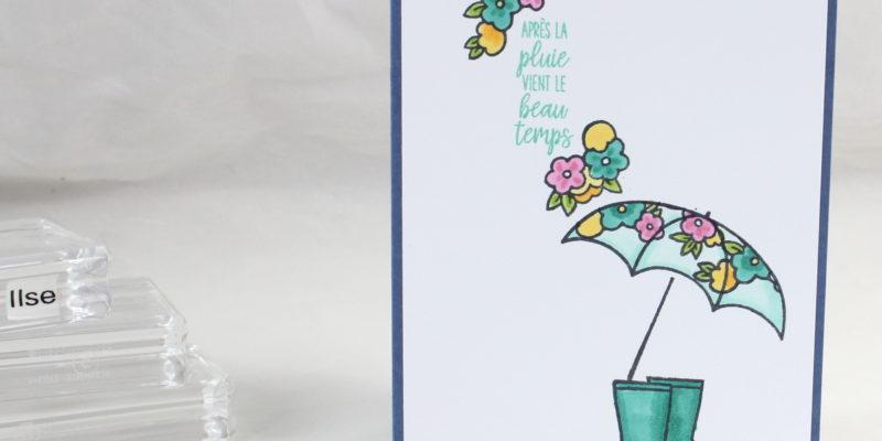 Photo de la carte au parapluie fleuri
