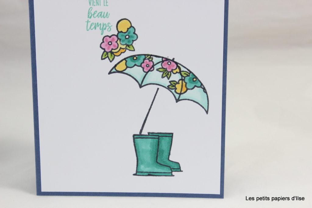 Détail de la carte au parapluie fleuri