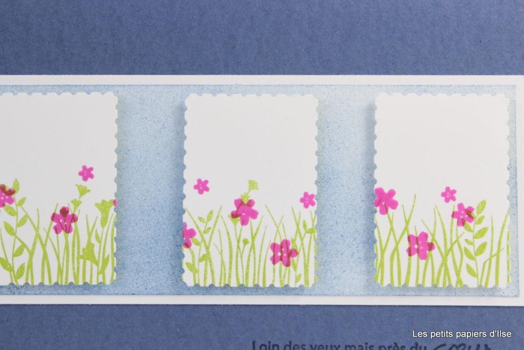 Détail de la carte aux timbres charmants