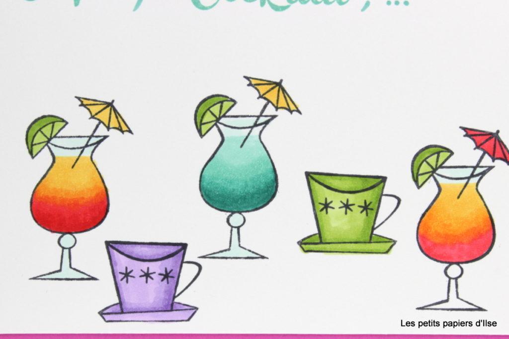 Détail de la carte coloriée café ou cocktail