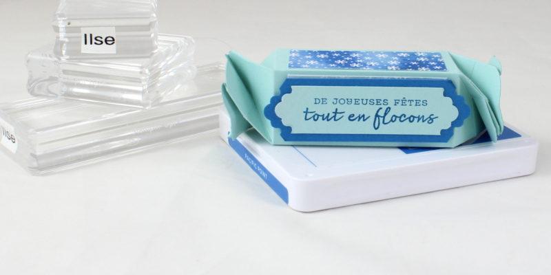 Photo de la boite à flocons en forme de bonbon