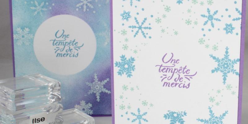 Photo des deux versions pour une carte splendeur en flocons