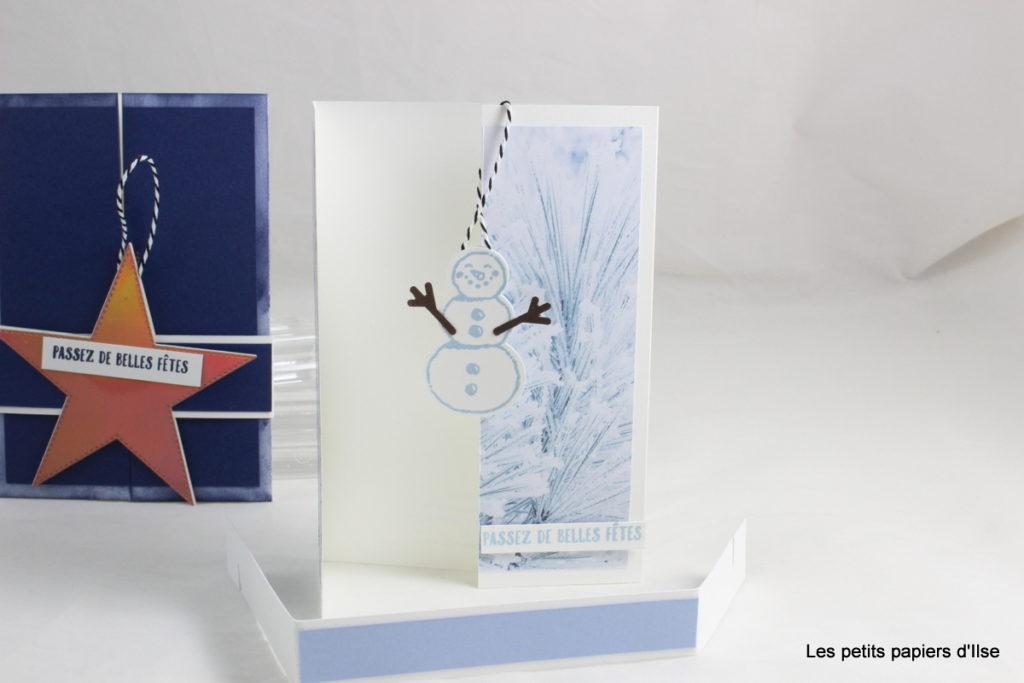 Photo de mes deux versions de carte avec une décoration détachable