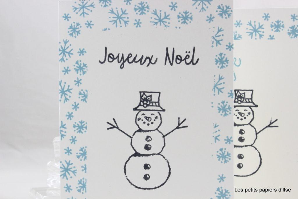Détail de la carte simple au bonhomme de neige