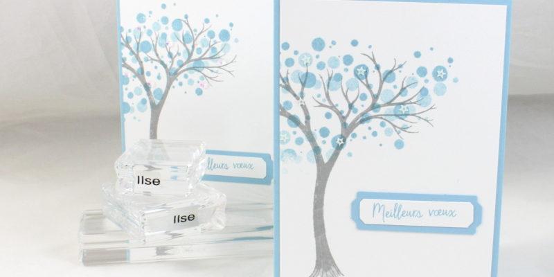Carte de vœux à l'arbre givré