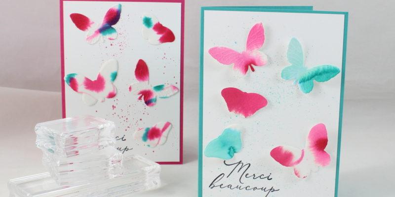 Photo de la carte aux papillons en aquarelle facile
