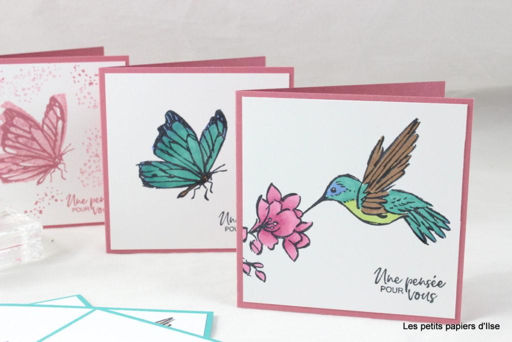 Photo des mini cartes une Touche d'encre roses