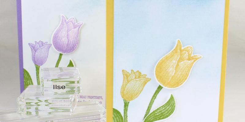 Photo de la carte aux tulipes de pâques