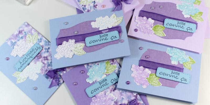 Photo des cartes cadeau aux hortensias